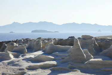 GRE1655AW Volcanic Rock formations of Sarakiniko on Mlos, Cyclades, Greece