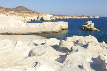 GRE1656AW Volcanic Rock formations of Sarakiniko on Mlos, Cyclades, Greece