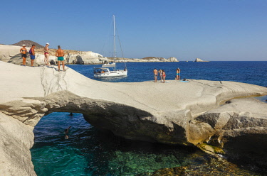 GRE1657AW Volcanic Rock formations of Sarakiniko, Mlos, Cyclades, Greece