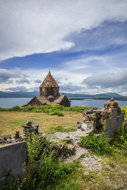 AM030RF Armenia, Lake Sevan, Sevan, Sevanavank Monastery, church exterior