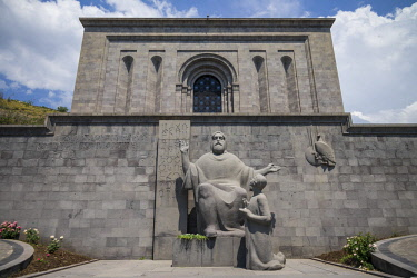 AM01227 Armenia, Yerevan, Matenadaran Library, statue of St. Mesrop Mashtots, founder of the Armenian alphabet