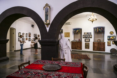 AM01240 Armenia, Yerevan, Sergei Parajanov Museum, former home and museum dedicated to controversial Soviet-era filmaker, Sergei Parajanov with art made by the filmaker
