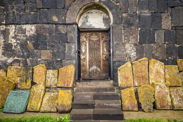 AM01291 Armenia, Lake Sevan, Sevan, Sevanavank Monastery, churchyard, kachkar memorial stones