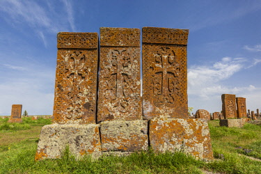 AM01295 Armenia, Lake Sevan, Noratus, town cemetery, ancient khachkar monuments