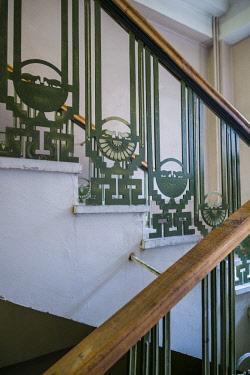 AM01306 Armenia, Yeghegnadzor, Soviet-era Hotel Gladzor, staircase