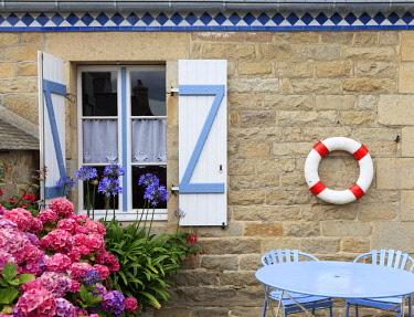 FRA10566AW France, Brittany, Cote de Granit Rose (Pink Granite Coast), Cotes d'Armor, Tregastel, Detail of typical house