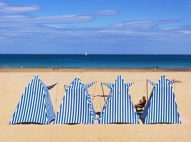 FRA10671AW France, Cote d'Emeraude (Emerald Coast), Cote d'armor, Dinard, striped beach huts
