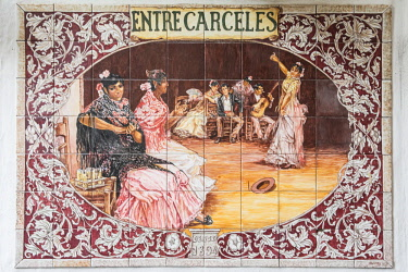 FVG029711 Typical ceramic tiles displaying flamenco dancers, Andalusia, Spain