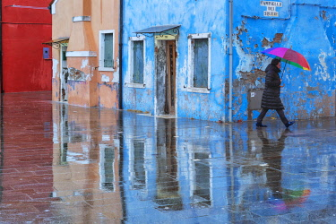 FVG031902 Raining in the Burano island, a typical village in the Venetian islands, Venice, Italy