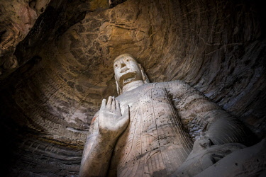 FVG032787 The beautiful ancient remains of Buddha Statue in Yungang Grottoes, Datong, Shanxi Province, China
