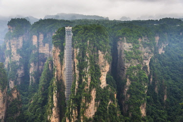 FVG033404 Hallelujah mountains or Avatar mountains ant the Bailong Elevator in the fog, Zhangjiajie National Forest Park, Hunan, China