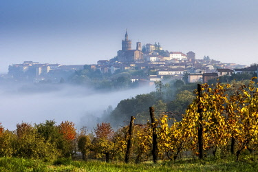 FVG036324 The wineyards in front of Camagna Monferrato in autumn in a foggy day, Monferrato, Piedmont, Italy, Europe