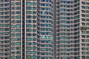 CH11661 Architectural detail of the Tung Chung Residential Estate, Tung  Chung, Lantau Island, New Territories, Hong Kong, S.A.R., China.