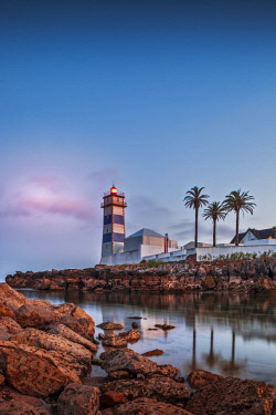 POR9937 The museum of Farol de Santa Marta Lighthouse at sunset, Santa Marta, Abuxarda, Cascais, Lisboa, Portugal.