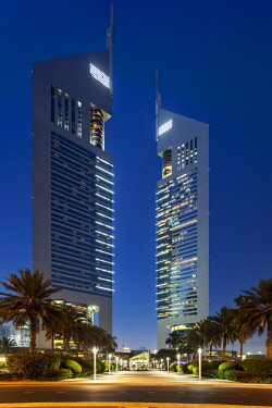 UAE0780 The Jumeirah Emirate Towers complex at twilight, designed by NORR Architects, DIFC, Dubai, Dubayy, United Arab Emirates.