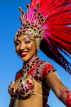 AF39MDE0003 Brazilian samba band in the International Carnival Seychelles, in Victoria, Mahe, Republic of Seychelles, Indian Ocean.