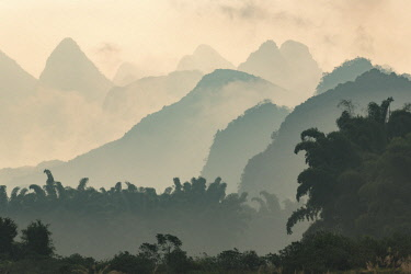 AS07AJE0485 Karst formations and bamboo trees silhouetted in morning mist, Li River at sunrise, near Xingping, China