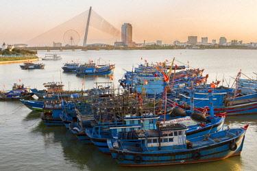 AS38TNO0367 Fishing boats. Han River, Vietnam.