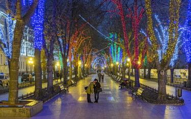 AS43WSU0084 Promenade in holiday lights, Odessa, Ukraine.