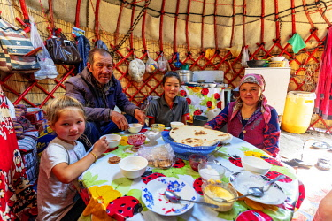 KYR0099 Central Asia, Kyrgyzstan, local family in a yurt stay near Songkol lake