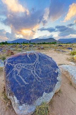 KYR0116 Central Asia, Kyrgyzstan, Cholpon Ata, petroglyphs