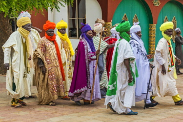 NGR1043 Nigeria, Kano State, Kano. A group of Hausa dignitaries wear beautiful traditional flowing robes with very fine turbans.