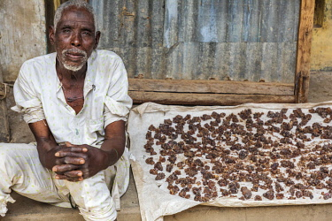 NGR1182 Nigeria, Kano State, Kano. A street vendor displays lumps of Gum Arabic in the sprawling 15th century Kurmi market. Nigeria is the largest producer of Gum Arabic in West Africa. It is used in the food...