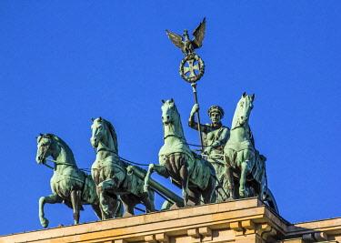 EU10MGL0280 Berlin, Germany. Close-up of the Quadriga atop the Brandenburg gate (Brandenburger Tor).