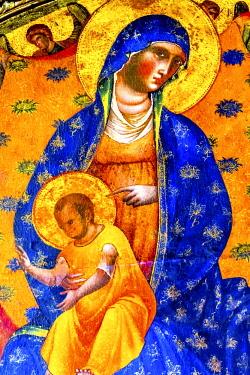EU16WPE0307 Paolo Veneziano Virgin Mary Child Painting. Santa Maria Gloriosa dei Frari Church, San Polo, Venice, Italy. Church completed mid 1400's. Paolo Veneziano Painted Mary Child Painting in 1339