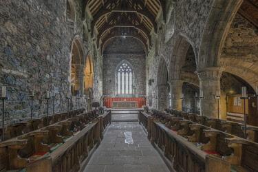 EU30RTI0050 UK, Scotland, Isle of Iona. Iona Abbey Church, the abbey was originally founded in the 6th century and was restored in the 20th century.