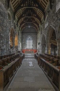 EU30RTI0051 UK, Scotland, Isle of Iona. Iona Abbey Church, the abbey was originally founded in the 6th century and was restored in the 20th century.