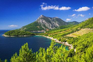 EU32RBS0149 The village of Trstenik on the Peljesac Peninsula above the Adriatic Sea, Dalmatia, Croatia