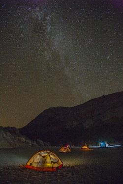 SA13BJY0226 Mexico, Baja California Sur, Isla San Jose. Beach camp and Milky Way at night