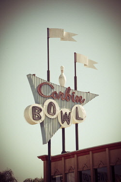 US05JMR0305 Vintage bowling alley sign in Encino, California. (Editorial Use Only)