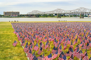 US18AJE0843 Twenty thousand American Flags on the Great Lawn, Ohio River, Louisville, Kentucky, Forth of July