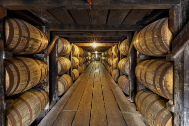 US18AJE1088 Barrel room warehouse, Buffalo Trace Distillery, Frankfort, Kentucky (Editorial Use Only)