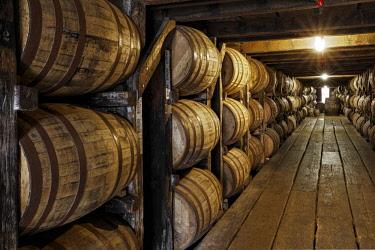 US18AJE1089 Barrel room warehouse, Buffalo Trace Distillery, Frankfort, Kentucky (Editorial Use Only)