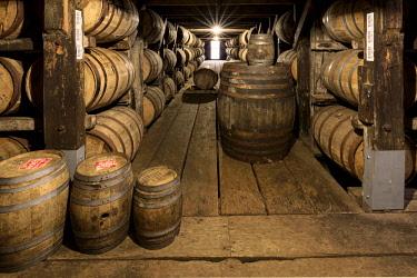 US18AJE1090 Barrel room warehouse, Buffalo Trace Distillery, Frankfort, Kentucky (Editorial Use Only)