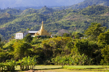 MYA2347 Myanmar, Mindat. A temple in the Chin Hills.