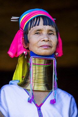 MYA2270 Myanmar, Inle Lake. Padaung lady wearing her heavy brass coiled rings around her neck.
