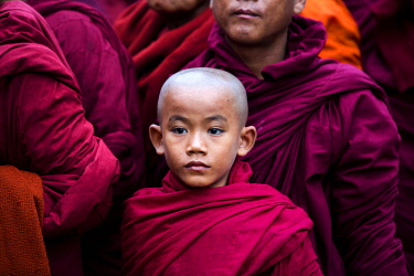 MYA2218 Myanmar, Bagan. Young novice monks lining up to receive alms at the Ananda Festival.