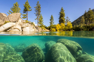 us29jwh0004 Over/under image of Lake Tahoe taken from Sand Harbor, Nevada.