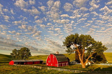 US48AJE0224 Red barn at sunrise with beautiful sky of clouds, Palouse region of Eastern Washington State. USA