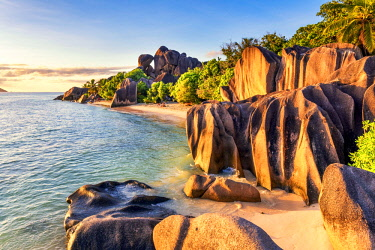 CLKAC93274 Anse Source d'Argent beach, La Digue island, Seychelles, Africa