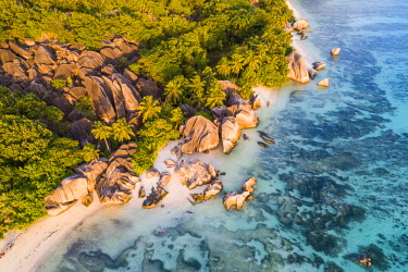 CLKAC93441 Aerial view of Anse Source d'Argent beach, La Digue island, Seychelles, Africa