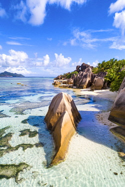 CLKAC93451 Aerial view of Anse Source d'Argent beach, La Digue island, Seychelles, Africa