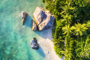 CLKAC93468 Aerial view of Anse Source d'Argent beach, La Digue island, Seychelles, Africa