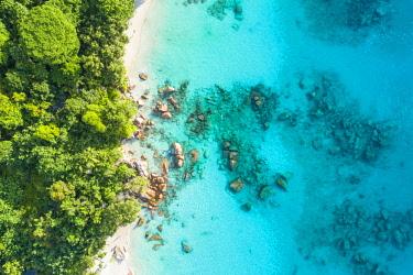 CLKAC93480 Aerial view of Anse Lazio beach. Praslin island, Seychelles, Africa