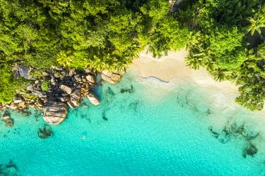 CLKAC93482 Aerial view of Anse Lazio beach. Praslin island, Seychelles, Africa