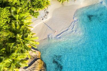 CLKAC93486 Aerial view of Anse Lazio beach. Praslin island, Seychelles, Africa (MR)
